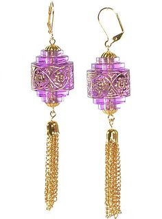 Lavender Chinese Lantern Earrings by Rebecca Berry Jewelry, Purple,Gold