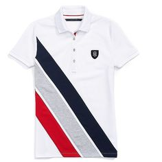 Tommy Hilfiger Banner Stripe Polo ($55) ❤ liked on Polyvore