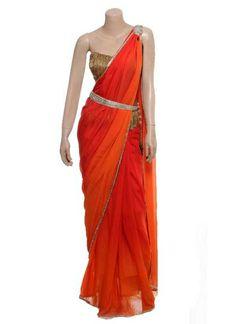 Red and Orange Toned Saree