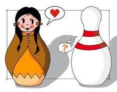 noelia's attic: Strange Relations: Matryoshka Vs. bowling pin