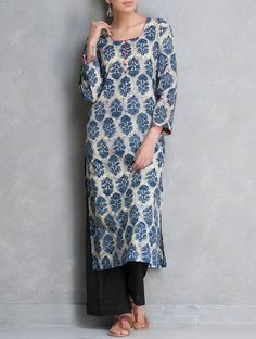 Buy Blue Dabu Printed Cotton Kurta by Lavanya Online at Jaypore.com