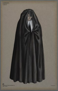 Zaandam, ca. Vrouw in rouwdracht, met huik. From the collection: Regional Costumes in the Netherlands. Historical Costume, Historical Clothing, Folk Costume, Costumes, Mourning Dress, Gothic Aesthetic, German Fashion, Guache, Facon