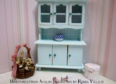 Miniature dollhouse 1:12 scale shabby/country/cottage hutch in mint green