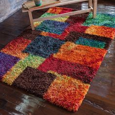 The Curated Nomad Vesuvio Multicolor Checkerboard Shag Rug x (Cantebury Multi Shag Rug x (Polyester, Patchwork) 4x6 Rugs, Latch Hook Rugs, Orange Rugs, Rug Store, Geometric Rug, Cool Rugs, Rug Hooking, Beige Area Rugs, Rugs On Carpet