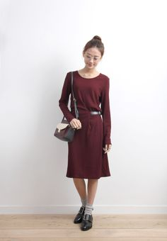 Rib Knit Dress With Faux Leather Buckle