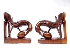 Art Deco Book Ends, A Pair of Carved Hardwood Bird Bookends, 1930s Asian Balinese Wooden Sculpture, Colonial Dutch Antiques, Office Decor at VintageArtAndCraft