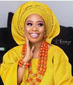 Image result for african wedding head wraps Nigerian Traditional Attire, African Traditional Wedding, Traditional Wedding Cake, African Print Wedding Dress, African Wedding Attire, Nigerian Beads, Nigerian Outfits, Agbada Styles, Yoruba Wedding