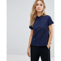 Mango Jersey Polo Shirt featuring polyvore women's fashion clothing tops navy cotton polo shirts navy polo shirts navy blue polo shirts navy blue short sleeve shirt navy blue top