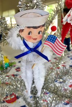 Items similar to Retro Chenille Military, Sailor, Patriotic feather tree ornament party favor, Independence Day decoration, on Etsy Patriotic Crafts, July Crafts, Pipe Cleaner Art, Pipe Cleaners, Vintage Christmas Ornaments, Christmas Crafts, Independence Day Decoration, Chenille Crafts, 4th Of July Decorations