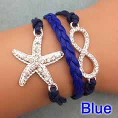 Navy Starfish & Infinity Bracelet Infinity Jewelry, Infinity Charm, Silver Bracelets, Silver Earrings, Beach Items, Navy Color, Starfish, Crystal Rhinestone, 925 Silver