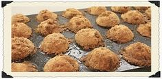 """COFFEE CAKE MUFFINS -MINIATURE FOR PAMPERED CHEF PAN  In a small bowl mix 3 Tblspn flour , 3 Tblspn brown sugar, 1/2 tsp. cinnamon, then cut in 3 Tblspn butter  Set this aside, now mix in a separate bowl:  1 1/2 c. flour  1/2 c. sugar  1 1/2 tsp. baking powder  1/2 tsp. cinnamon  1/4 tsp. ginger  1/4 tsp. baking soda  1/4 tsp. salt  Now cut into this 1/4 cup butter  Now add 1 egg (beat before you add)  Now add 1/2 c. butter milk or sour milk   (I make """"sour milk"""" by adding 1/2 Tablespoon vine..."""