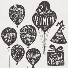 CLIP ART: Birthday & Greeting Overlays // Hand Lettering //