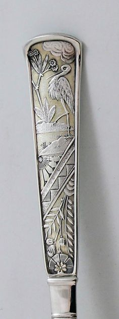 "Pattern detail from Wood & Hughes ""Japanese"" pattern sterling silver sugar sifter (silverperfect)"
