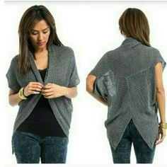 Ribbed Cardigan Dark gray ribbd cocoon cardigan Sweaters Cardigans