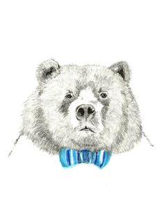 Mister Bear Bear Illustration Bear With Bow Tie by corelladesign