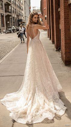berta spring 2018 bridal spaghetti strap deep v neck full embellishment sexy romantic a  line wedding dress open back chapel train (2) bv -- Berta Spring 2018 Wedding Dresses
