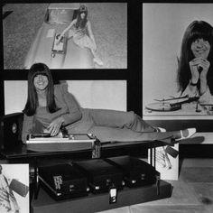 Cathy McGowan and her branded dansette, 1966. #cathymcgowan #1960s #dansette