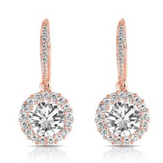 2e7f2680e Collette Z Sterling Silver with Rose Gold Plated Clear Round Cubic Zirconia  Halo Drop Earrings