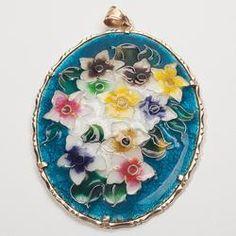 Vintage Estate Cloisonne Enamel Flower 14k Gold Drop Statement Pendant Fine Old Heirloom