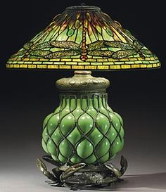 """Tiffany Studios Dragonfly table lamp with crab base, circa 1910, leaded glass cabochons, patinated bronze, and blown glass, 24"""" high x 20"""" diameter, shade stamped """"Tiffany Studios New York 1495,"""" base stamped """"25922"""". <3<3<3"""