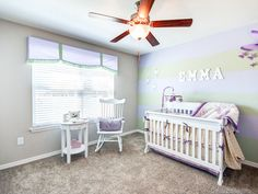 A striped accent wall adds visual interest in this nursery. Highland Homes' Adara model townhome in Riverview, Florida. Riverview Florida, Creative Kids Rooms, Highland Homes, Bedroom Pictures, New House Plans, Florida Home, Kidsroom, Home Builders, Kids Bedroom