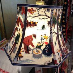 Uno Lampshade Vermont Barkcloth Lamp Shade  by lampshadelady $85. Lake's Lampshades, rare vintage grandma moses fabric.