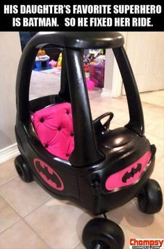 Little girl loves Batman so her Dad customized her ride2