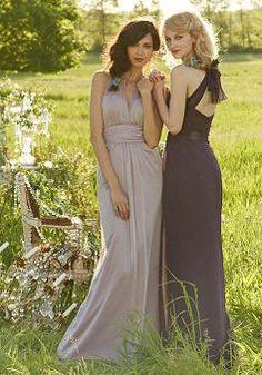 A line V Neck Floor Length Chiffon Sleeveless Cross Back Bridesmaid Dress - 1300105009B - US$109.99 - BellasDress