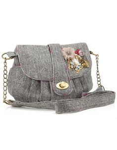 Willow Tweed Charm Small satchel | Grey | Accessorize