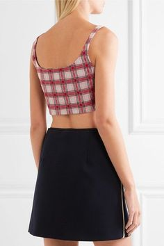 Prada - Cropped Checked Jacquard-knit Top - Red - IT42