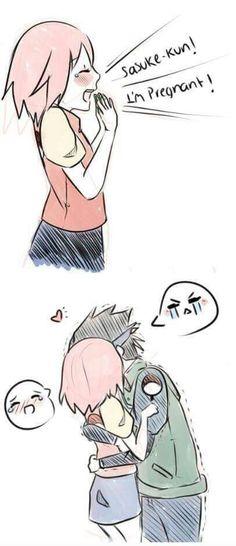 well when Sakura told Sasuke she was pregnant he was happy and shocked so he hugged her ans Sakura hugged him back
