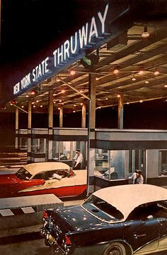 New York State Thruway, c.1950s. #vintage #1950s #cars