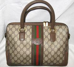 $800 Lg GUCCI SIGNATURE Speedy Bag BOSTON Red & Green Stripe Lg Vintage GUCCI  #Gucci #ShoulderBag