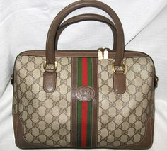 $800 Lg GUCCI SIGNATURE Speedy Bag BOSTON Red & Green Stripe Lg Vintage GUCCI  #Gucci #ShoulderBag