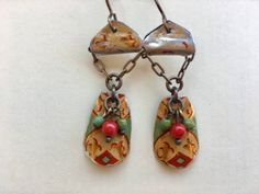 Boho Rustic Art Nouveau tin earrings by Bohemystic on Etsy