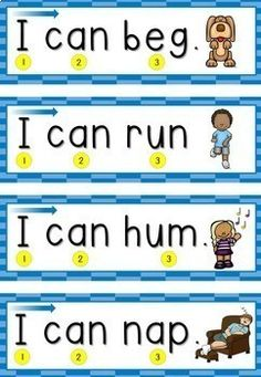 Help your students learn the concepts of print with these sentence strips. They read the sight words and use the picture clues to identify the CVC words. Kindergarten Reading Activities, Preschool Writing, Phonics Reading, Kids Writing, Kids Reading, Reading Comprehension, Vowel Activities, Kindergarten Prep, Early Reading