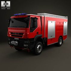 Iveco Trakker Fire Truck 2-axis 2012 3d model from humster3d.com. Price: $75