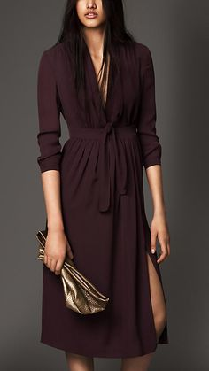 Burberry London Silk Georgette Bow Detail Dress