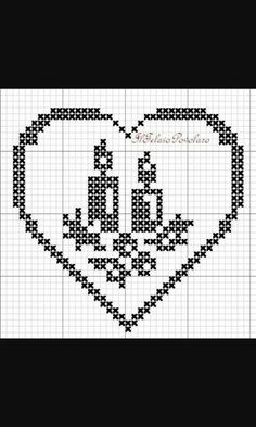 Cuore candela Natale Victorian Christmas Ornaments, Christmas Cross, Cross Stitch Patterns, Crochet Patterns, Fillet Crochet, Cross Stitch Heart, Charts And Graphs, Crochet Diagram, Thread Crochet