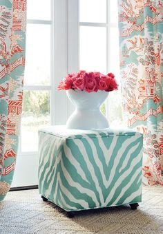 Fair and Square Ottoman from #ThibautFineFurniture in Etosha Embroidery #fabric in #aqua. Draperies in Luzon #fabric in #aqua and #coral. #Thibaut