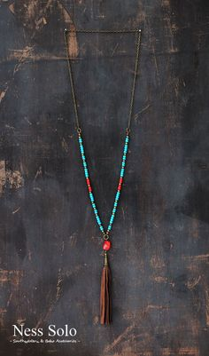 Long Boho necklace, Gypsy necklace, hippie neklace, blue and red necklace with coral and a leather tassel