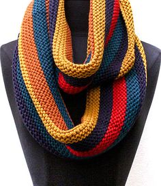 I LIKE THE PATTERN---NOT THE YELLOW INFINITY SCARF / MULTI COLOR / STRIPE / 100% ACRYLIC / FALL / WINTER / 31 INCH X 13 INCH