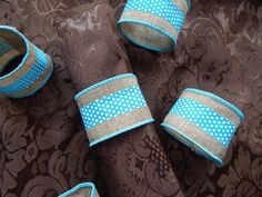 WEDDING NAPKIN RINGS, Rustic Tan and Turquoise, Home Table Decor, Destination Wedding, Party Table Decor, Durable, Gift, Handsewn, Set of 6