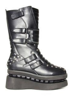 Storm Platform Boots by Hades (Black) #inkedshop #platform #Boots #storm #buckles #shoes