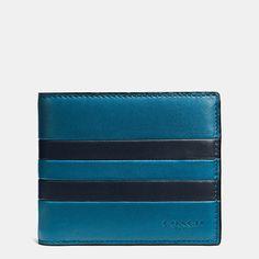 Modern Varsity Stripe Compact Id Wallet in Sport Calf Leather