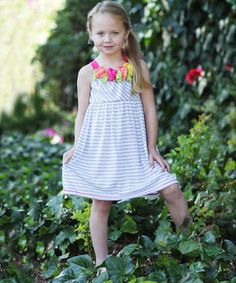 This Freckles + Kitty Heather Gray Stripe & Rosette Dress - Girls by Freckles + Kitty is perfect! #zulilyfinds