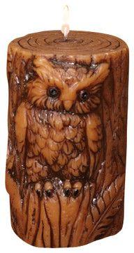 Owl Sculpted Pillar Candle Pinned by www.myowlbarn.com