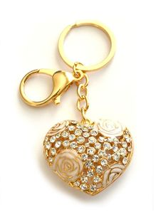 $9.99 Get this to fill your Christmas stockings! #gold #heart #key #locket #rhinestone #stockingstuffer #gift #present #keychain #keyfob #keycharm #charms #keyring #accessories #holiday