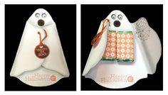Make this adorable ghost treat holder with the Stampin' Up! die. Instructions at http://StampwithBernie.com