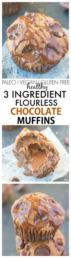 Just THREE ingredients are needed to make these healthy flourless chocolate muffins- No butter, oil, flour and the option to add sugar! {gluten free, paleo, vegan options}- thebigmansworld.com